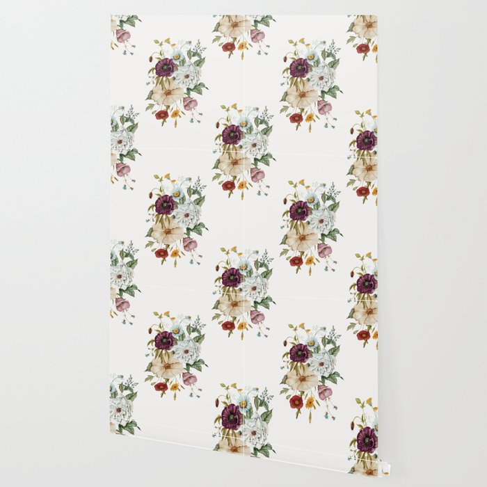 Colorful Wildflower Bouquet on White Wallpaper