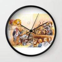 vegetarian Wall Clocks featuring vegetarian face by Rose Rigden