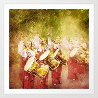 korean Art Prints featuring korean drummers by FarbCafé