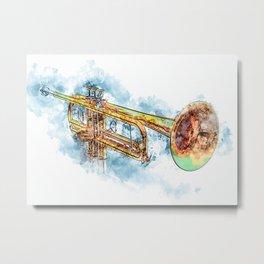 Trumpet Trumpet Watercolor Metal Print
