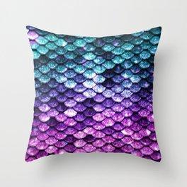Mermaid Tail Dark Unicorn Throw Pillow