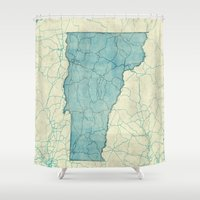 vermont Shower Curtains featuring Vermont State Map Blue Vintage by City Art Posters