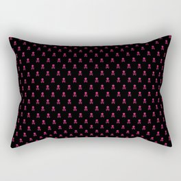 SKULLS PATTERN - BLACK & PINK - SMALL Rectangular Pillow