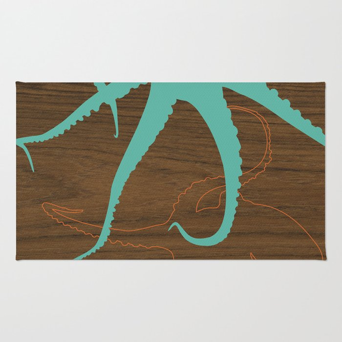 blue octopus Rug