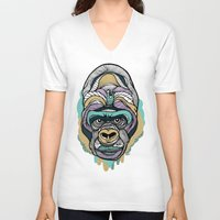 gorilla V-neck T-shirts featuring Gorilla by casiegraphics