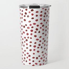 Red Watercolour Dots Travel Mug