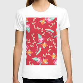 Modern red scarlet floral pattern illustration T-shirt