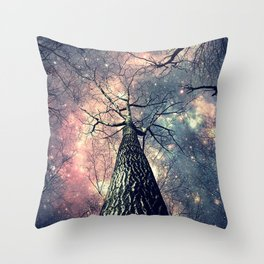 Wintry Trees Galaxy Skies Throw Pillow