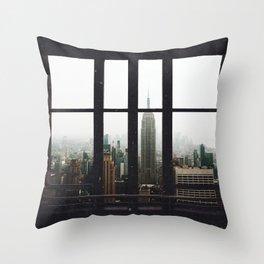 New York City Skyline Window View Throw Pillow