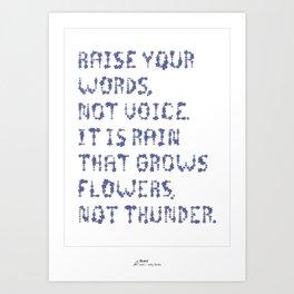 Rumi Inspirational Quote Art Print (Blue) Art Print
