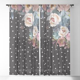 Boho Flowers and Polka Dots on Black Sheer Curtain