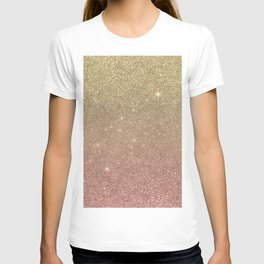 Rose Gold and Yellow Gold Glitter Mesh T-shirt