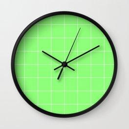 Graph Paper (White & Light Green Pattern) Wall Clock