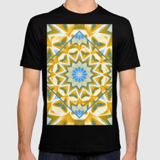 Wheel cover kaleidoscope in blue and gold Black MEDIUM Mens Fitted Tee