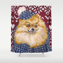 Pomeranian in a Hat and Scarf Shower Curtain
