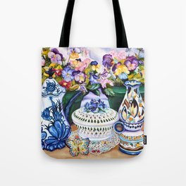 Pansies and Teapot oil Still Life Tote Bag