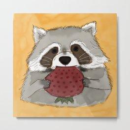 Strawberry Racoon Metal Print