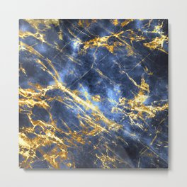 Ornate, Classic Gold and Sapphire Marble Metal Print
