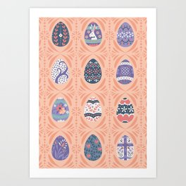 Ornate Easter Eggs - Coral + Purple Art Print