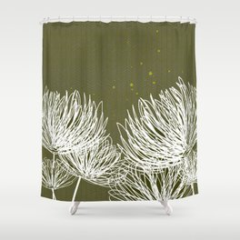 Olive Doodle Floral by Friztin Shower Curtain