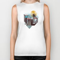 mountains Biker Tanks featuring Over mountains by Efi Tolia