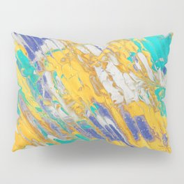 Fluid Acrylic Painting Multi Color Glitch Wave Effect Gold Yellow Cyan Green Navy Blue Pillow Sham