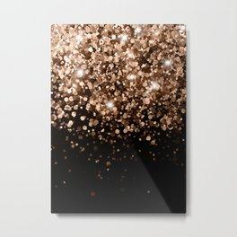 Dark Night Brown Black Glitter #1 (Faux Glitter) #shiny #decor #art #society6 Metal Print