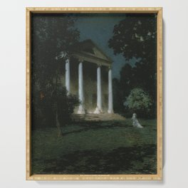 New England Spring by Moonlight, May Night romantic landscape mansion painting by Willard Metcalf Serving Tray