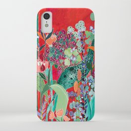 Floral Jungle on Red with Proteas, Eucalyptus and Birds of Paradise iPhone Case