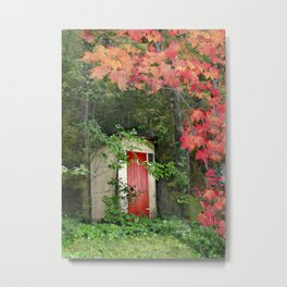 The Red Outhouse Door Metal Print