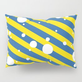 Candy Cane Snow Yellow and Blue Pillow Sham