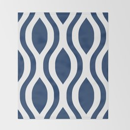 Pretty Ogee Pattern 434 Navy Blue Throw Blanket