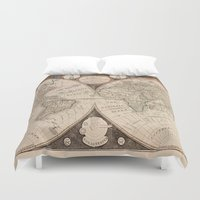 map of the world Duvet Covers featuring World Map by Le petit Archiviste