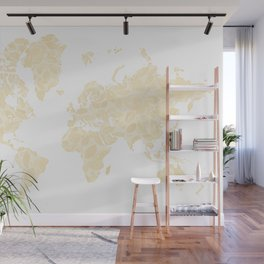 Floral watercolor world map in cream and light brown, Remy, no labels Wall Mural