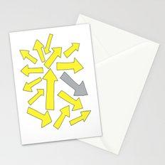grey arrow on yellow Stationery Cards
