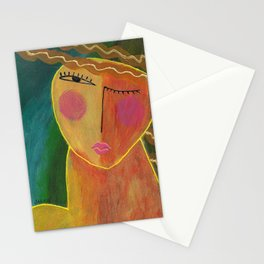 Abstract Acrylic Portrait of a Woman Stationery Cards