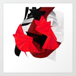 red black white silver abstract digital art Art Print