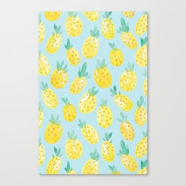 Watercolour Pineapples on Blue Canvas Print