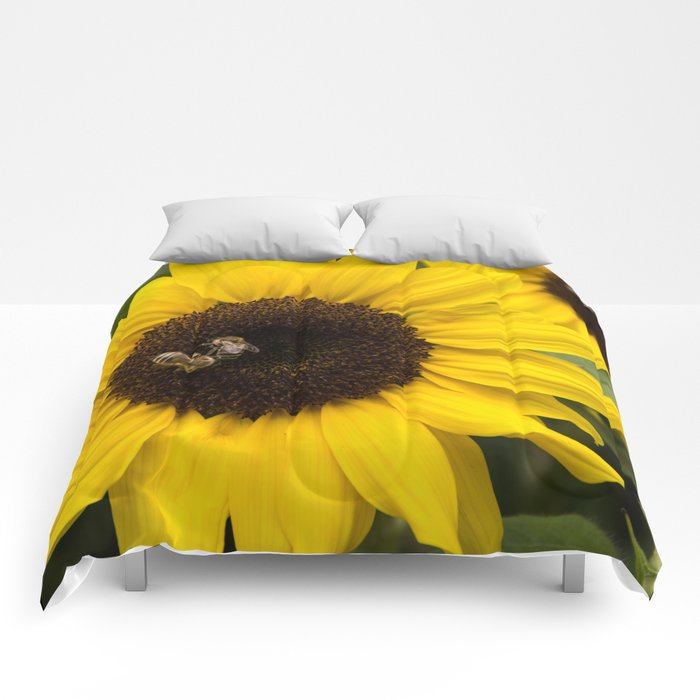 Sunflower with bees Comforters