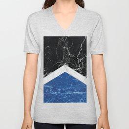 Arrows - Black Granite, White Marble & Blue Granite #227 Unisex V-Neck