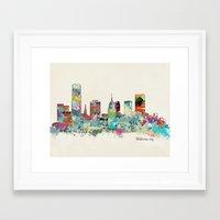 oklahoma Framed Art Prints featuring Oklahoma City Oklahoma skyline by bri.buckley