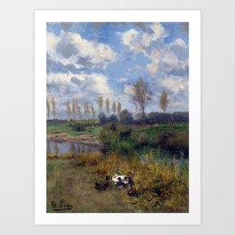Adolf Lins Ducks on the Stream Art Print