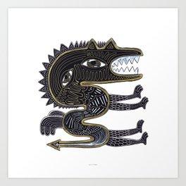 decorative surreal dragon Art Print