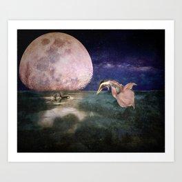 Moonlit Bath Art Print