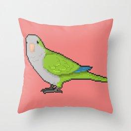 Pixel / 8-bit Parrot: Green Quaker Parrot Throw Pillow