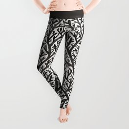 Black Fan Coral Leggings
