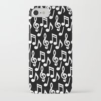 music notes iPhone & iPod Cases featuring Black & White Music Notes by Designs by Aryel