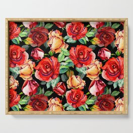 Hand painted black red watercolor roses floral Serving Tray