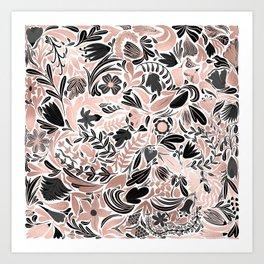 Rose Gold Black Floral Leaf Illustration Pattern Art Print