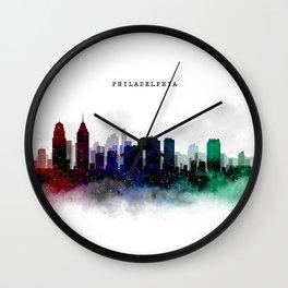 Philadelphia Watercolor Skyline Wall Clock